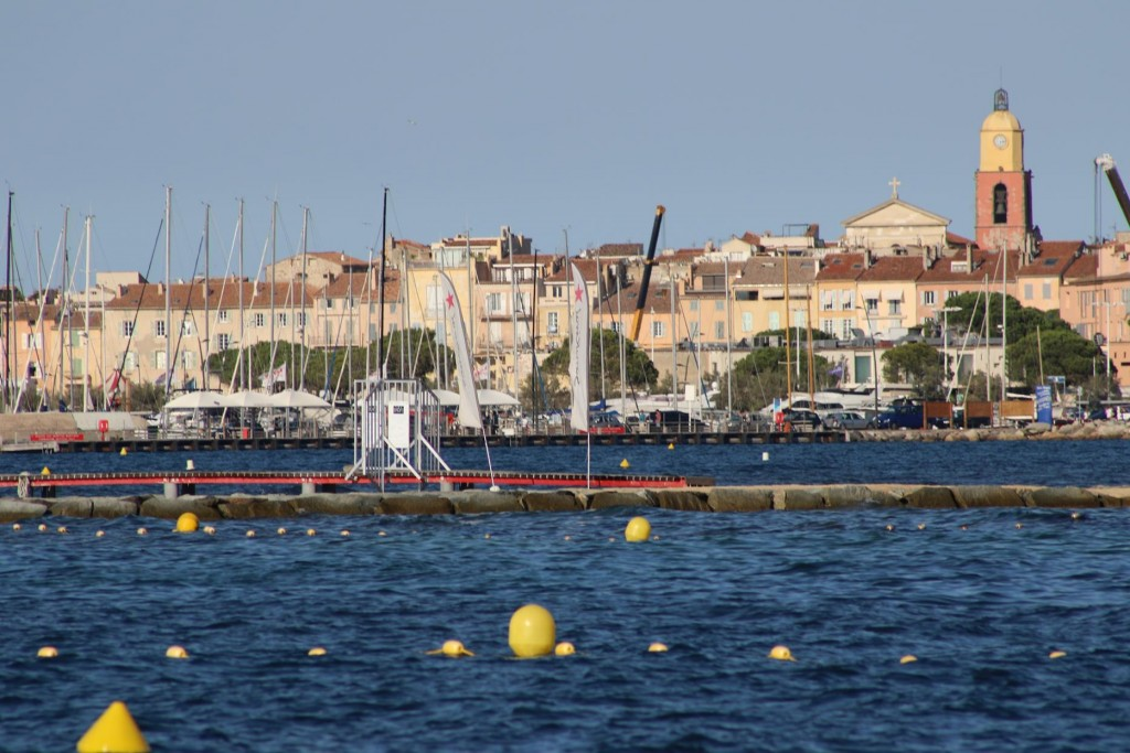 Looking back to the port with the breakwater and pier for the water sports in the foreground