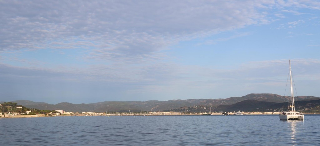 Looking back to Port Grimaud and Marines de Cogolin in the head of the Golfe de St Tropez