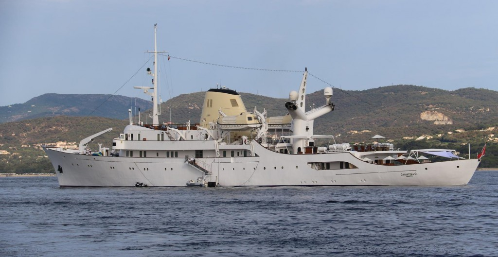 The Christina O is moored in St Tropez