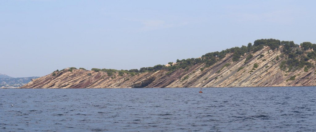We pass some amazing striated cliffs