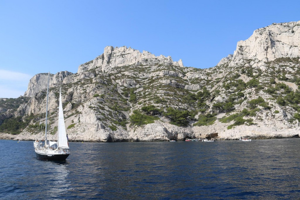 The surroundings in the calanque are quite stunning with pines scattered around the limestone cliffs