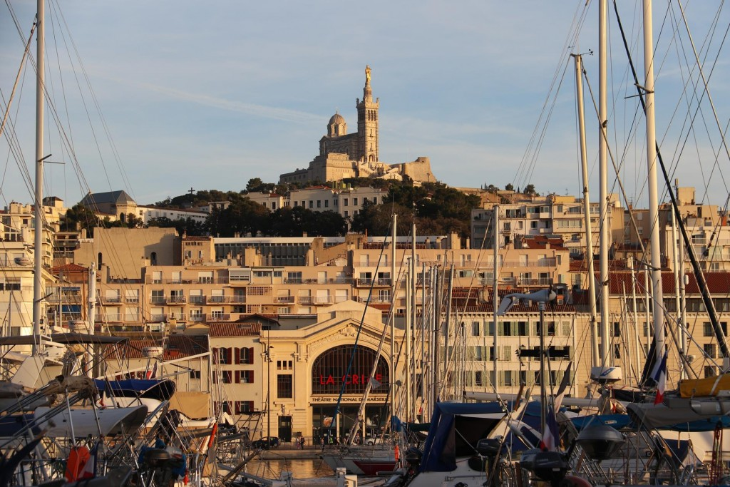 From the end of our pier at the marina we can see the Notre Dame de la  Garde Basilica on the hill