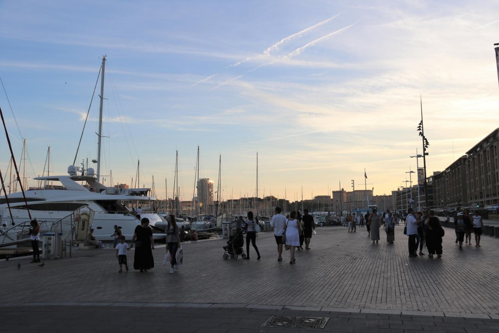 The wide pedestrian friendly promenade  along the waterfront by the marina