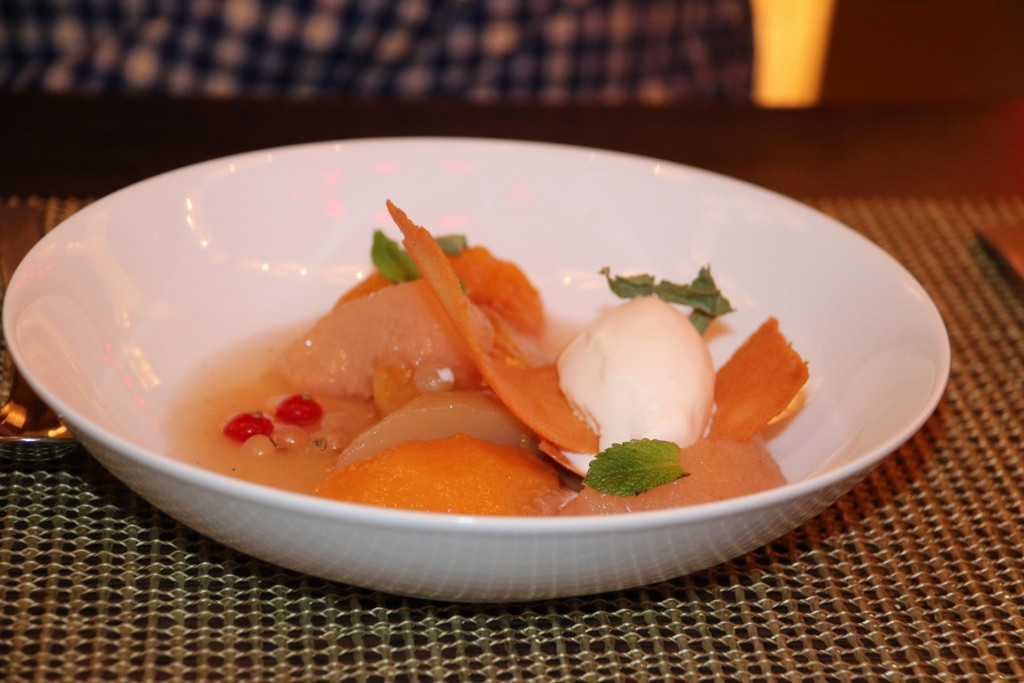Poached pear and peach