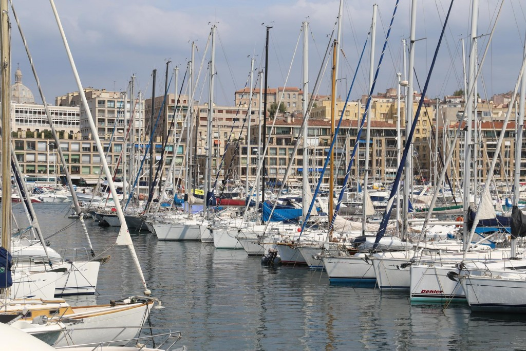 Rows and rows of yachts line the shores of the harbour