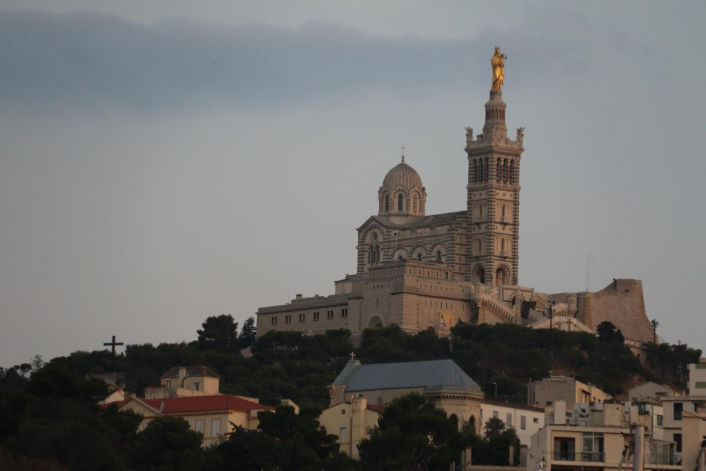 Notre Dame de la Garde glowing in the evening light