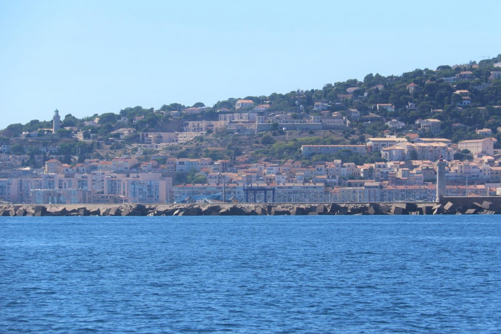 After travelling most of the day around the southern coast of France we approach the town of Sete