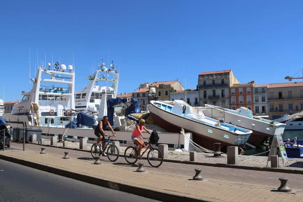Riding along the  bike track by the canals is a great way of seeing the town of Sete