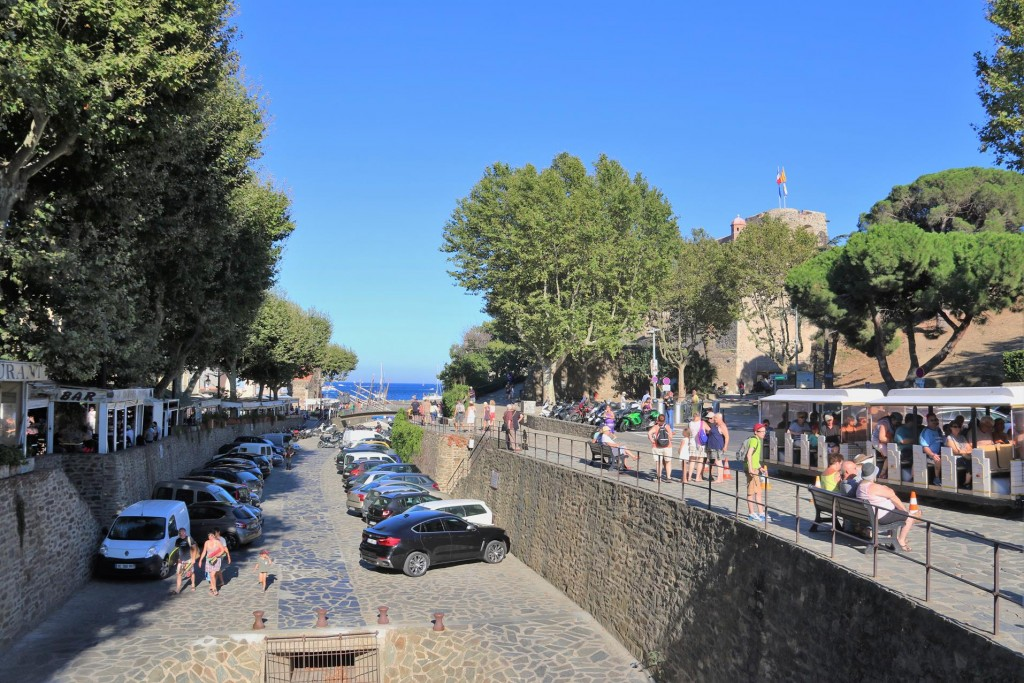Many restaurants line the old moat by the castle