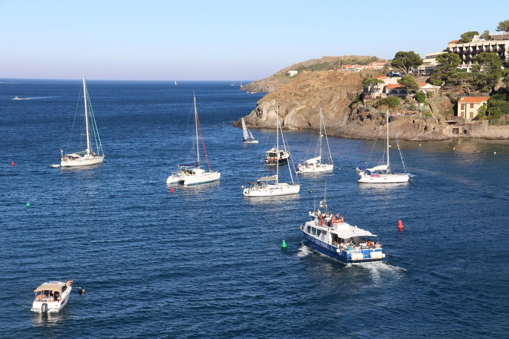 Day tripper boats bring visitors to and from Collioure several times a day