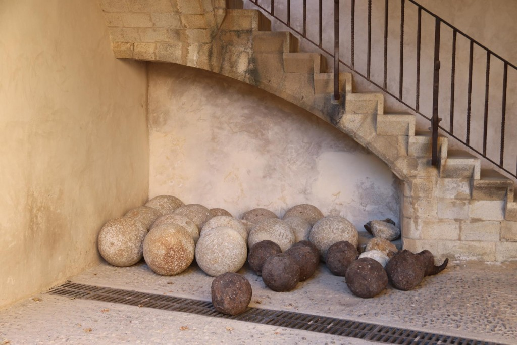 Canon balls on display found on the site