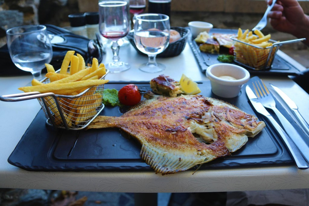 Tonight we both enjoy the fresh turbot with fabulous chips and vegetables
