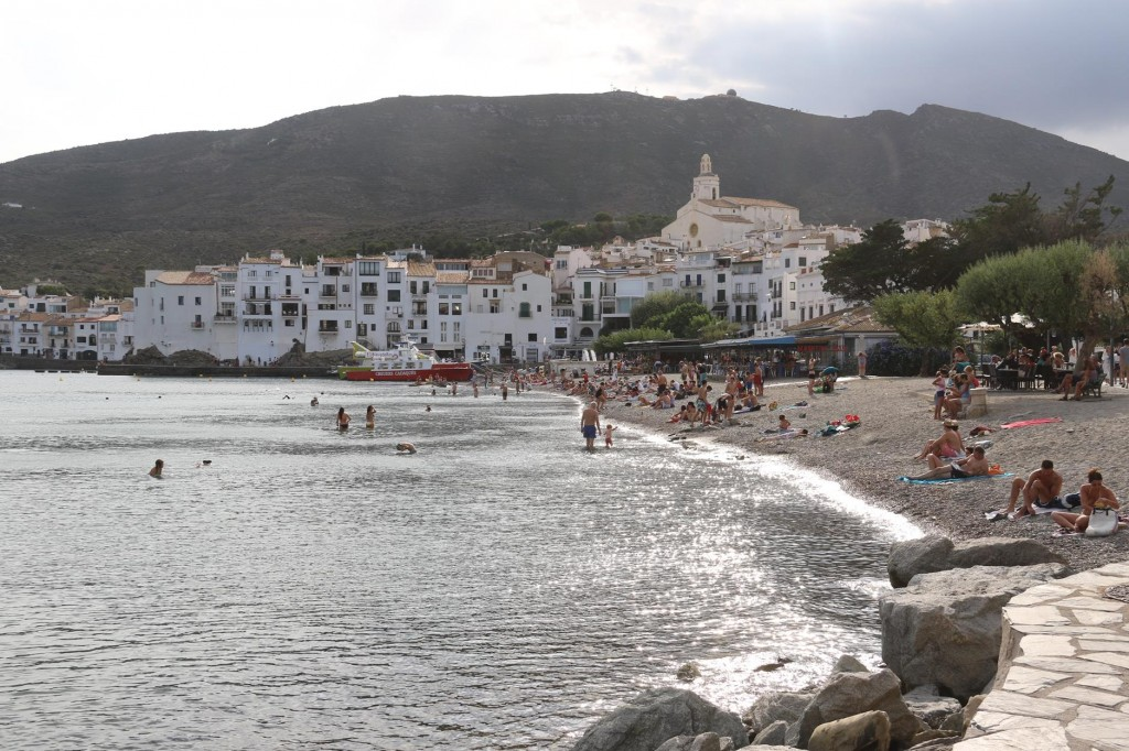 The stony beach in the town is well patronised during the summer months