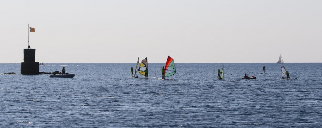 As we leave we dodge the young students of the wind surfing school in Cadaques
