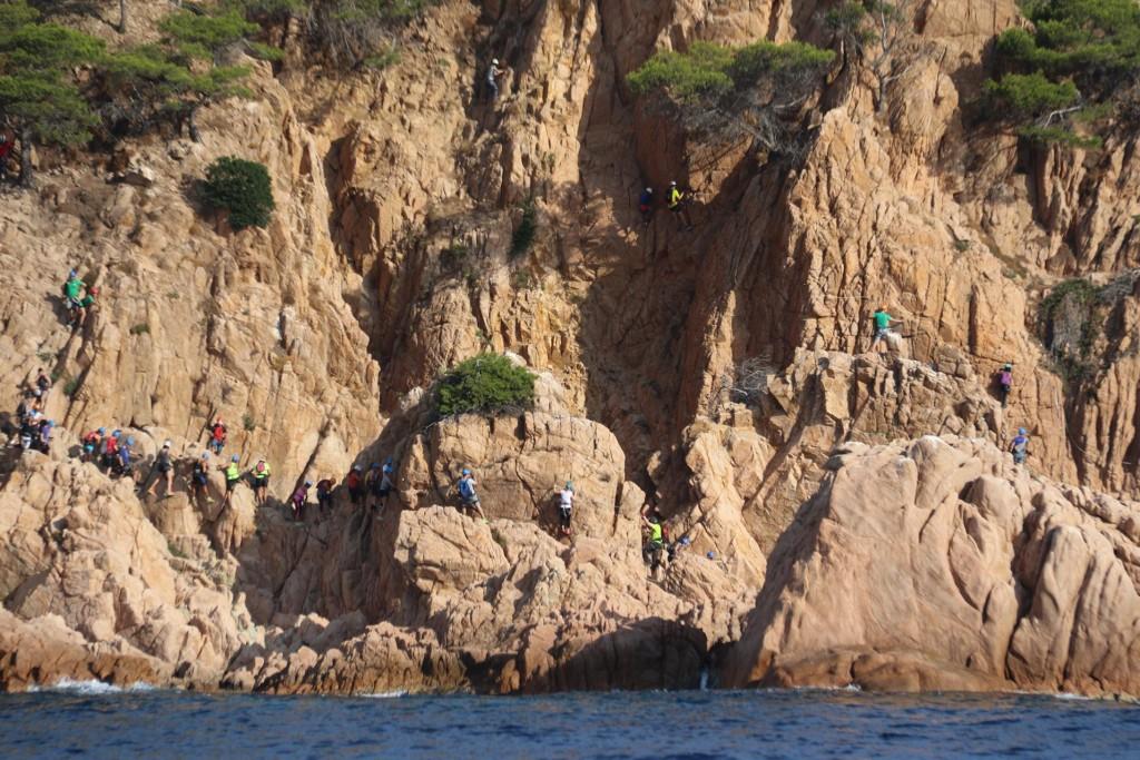 Rock climbing at Via Ferrata Cala del Moli just north of Sant Feliu de Guixols