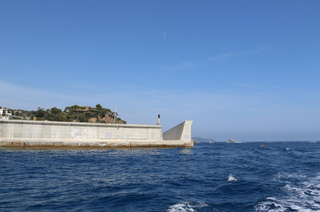 Looking back to the double seawall by the marina in Blanes