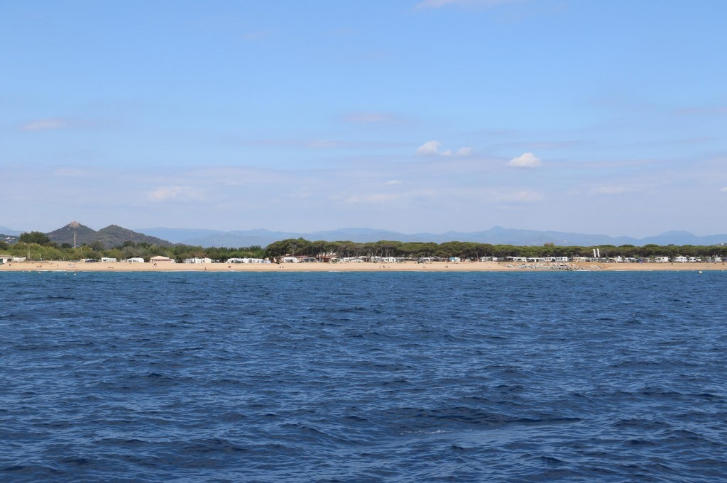 We pass a popular camping area on the beach by the town of Santa Susanna a few miles down the coast