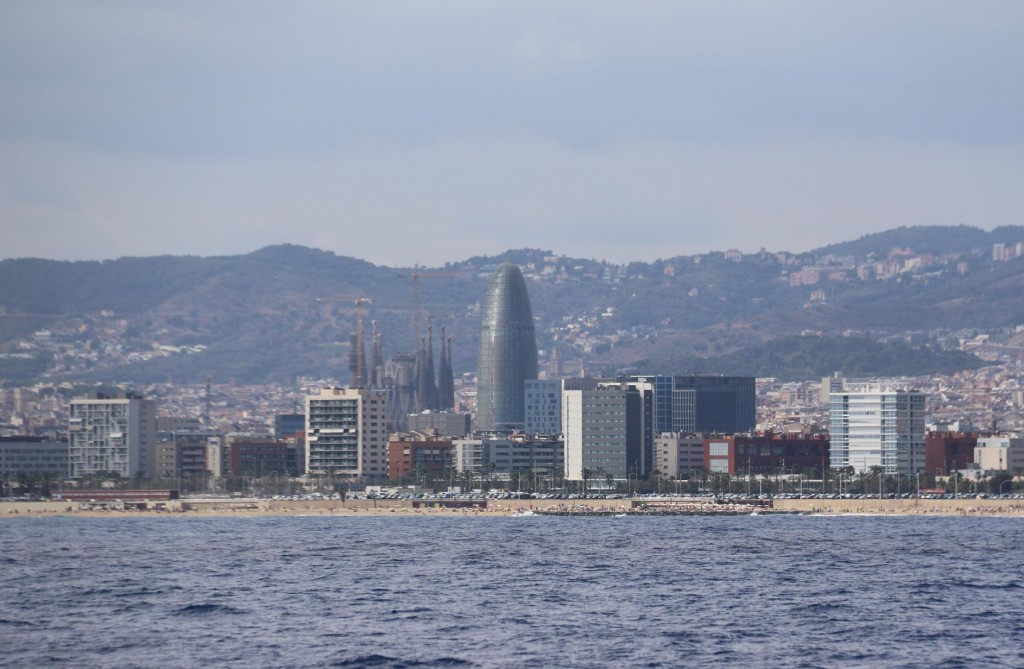 The bullet shaped Agbar Tower comes into view as we approach Barcelona