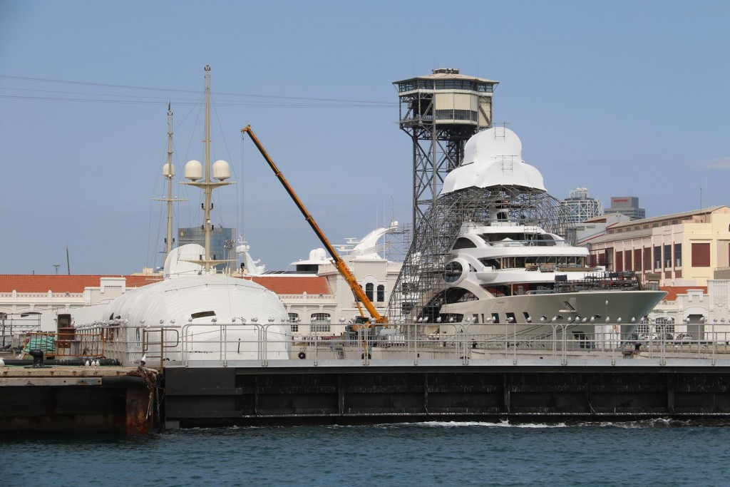 Super yachts under construction in the harbour