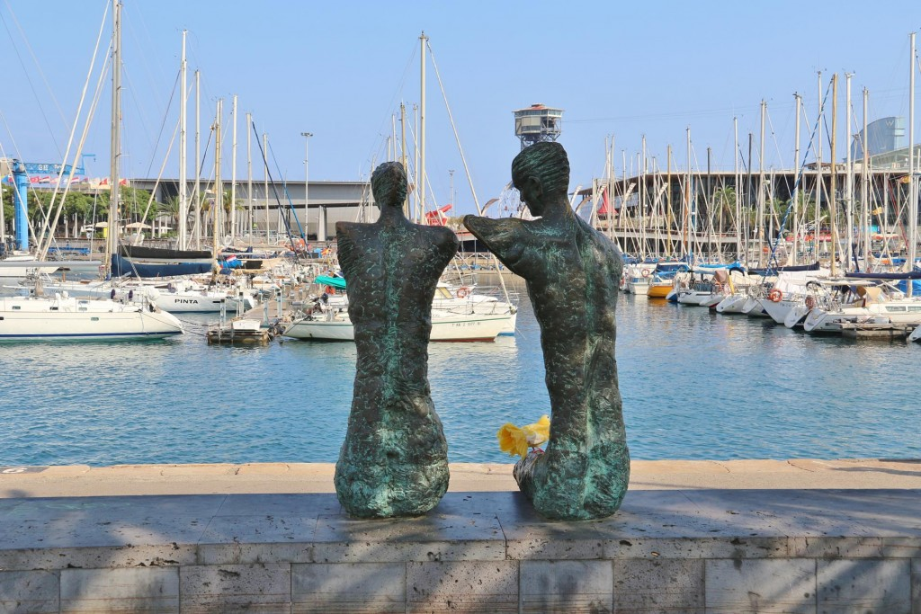 A pair of interesting sculptures enjoying the view